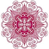 MiniPoco Indian Mandala Flower Bedroom Vinyl Family Wall Decal Art Wall Stickers Mural Home Room Wall Decoration 42cm x 42cm (red)
