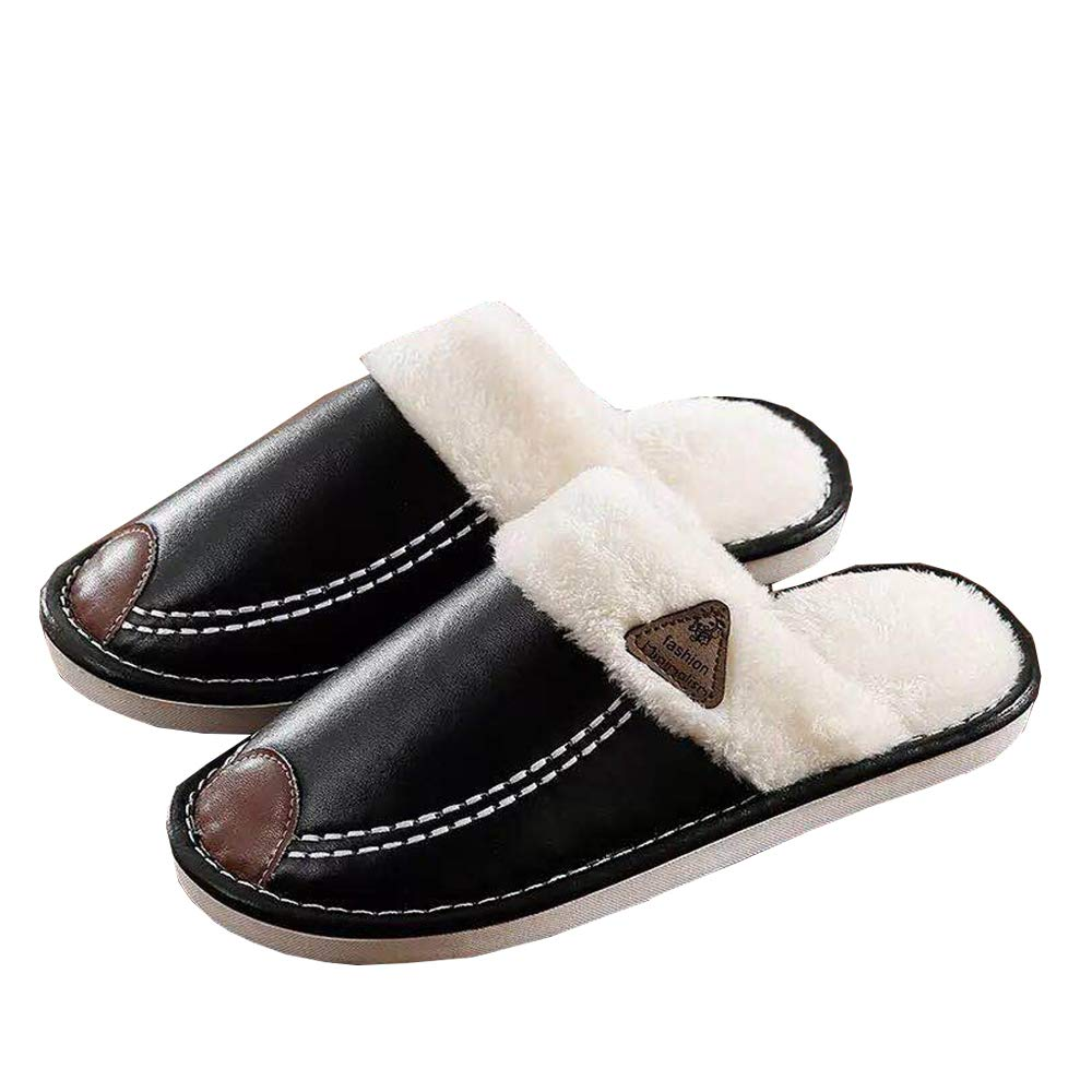 ZKHOECR Womens Faux Fur Lined Leather Slippers House Shoes for Indoor Outdoor