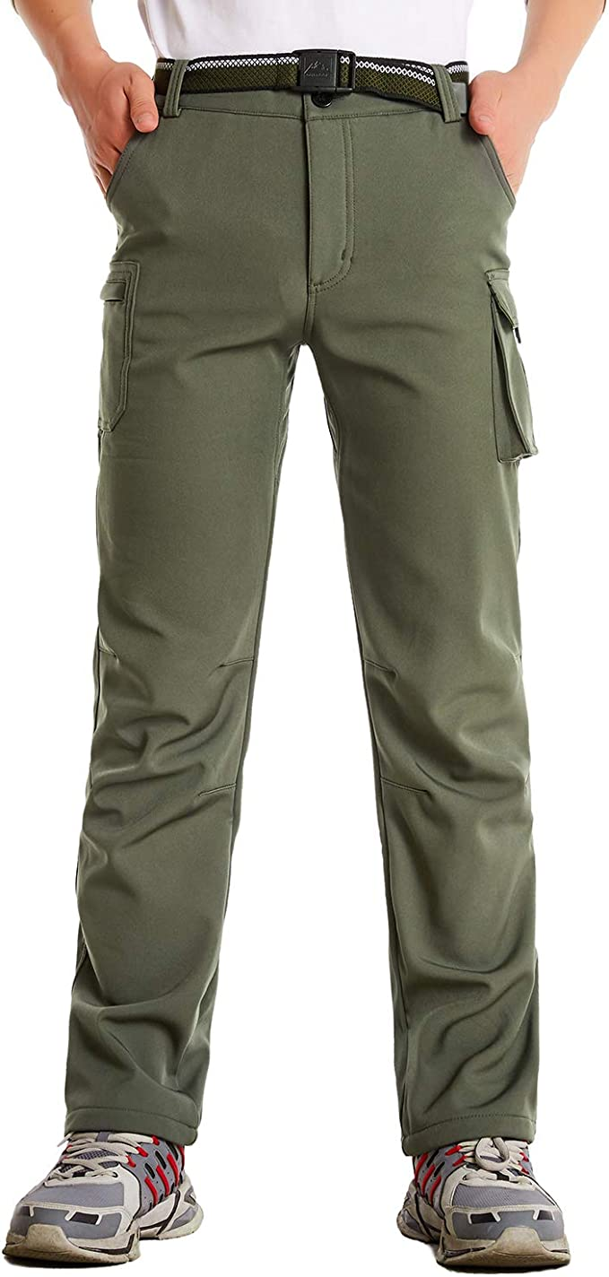 JOMLUN Womens Outdoor Windproof Waterproof Hiking Mountain Ski Pants Soft Shell Fleece Lined Trouser