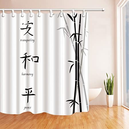 GoHEBE Classic Chinese Decor Shower Curtains By Hand Painted Bamboo ...