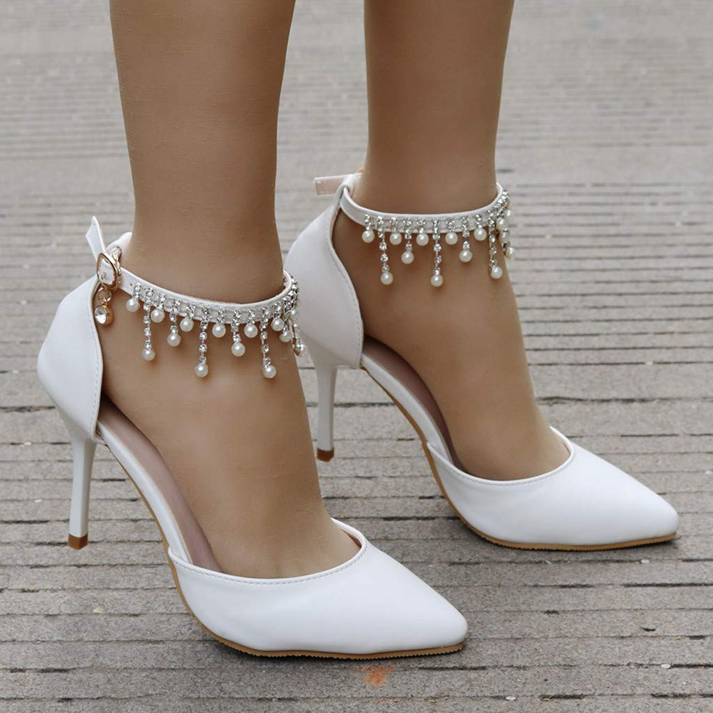 Women Shoes,Womens Ladies Fashion Crystal Pointed Toe Thin High Heel Sandals Shoes