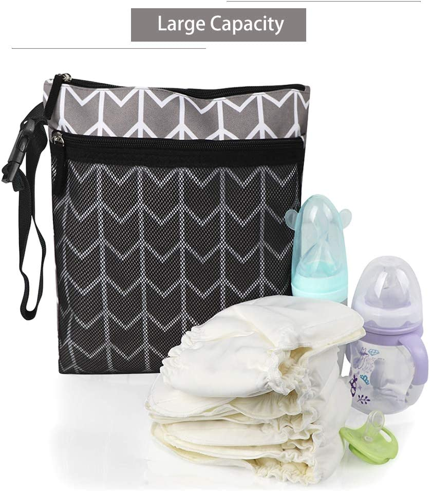 Negro MCGMITT Bolsa de Pa/ñales Reutilizable Bolsa Oxford con Cremallera Impermeable con bolsillo de malla playa Bolsas de viaje lavables