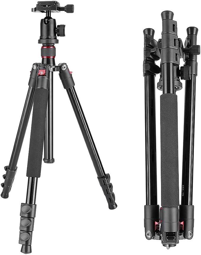 Aiyawear Stick Tripod Heavy Duty Video Camcorder Aluminum Alloy Tripod for DSLR//SLR Camera Adjustable Height 62-140cm Color : Black, Size : One Size