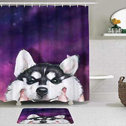 Minalo 2 Piece Shower Curtain Set With Non Slip Bath Mat Cute Husky Smiling Face 12 Hooks Personalized Bathroom Decor Amazon Co Uk Kitchen Home