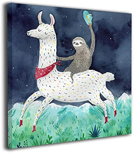 Janvonne Canvas Wall Art Sloth Riding Llama Decor Frameless Oil Paintings Pictures Modern Decorations For Living Room Bedroom Bathroom Home Decor