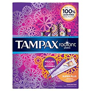 Tampax Radiant Plastic Unscented Tampons, Super Plus Absorbency, 16 Count,(Packaging May Vary)