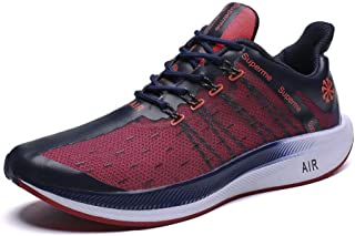 YOKIPK High Elasticity, Spring Fishing Net Fashion Large Size Men's Shoes, Casual Sports Wild Travel Shoes, Wearable Running Shoes, Blue Red, 45