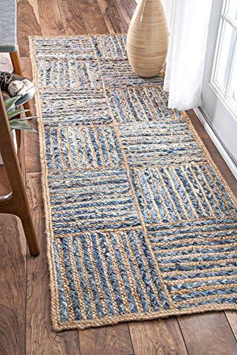 nuLOOM Elva Hand Braided Jute Runner Rug, 2 6 x 8 , Blue