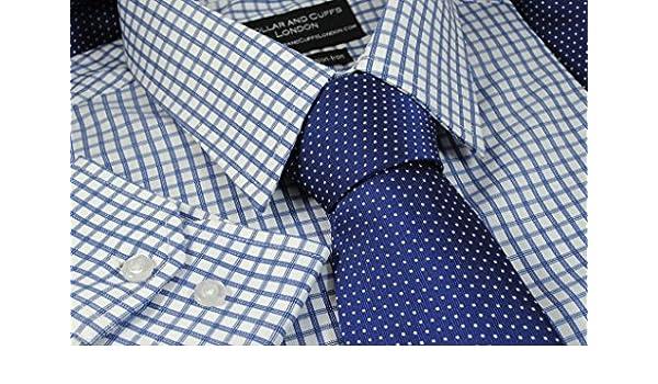 Y cuellos y bordes de Londres de puños - de alta calidad 100% algodón - para adaptarse al cuerpo cookware company - Camisa y juego de corbata - Knightsbridge azul marino diseño