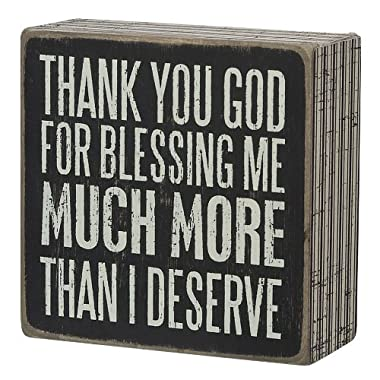 Primitives by Kathy Pinstriped Trimmed Box Sign, 4  x 4 , Thank You God