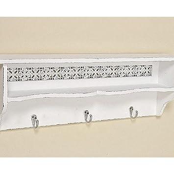 PorteManteaux Avec Tablette En Bois Blanc  Cm De Long Son Style
