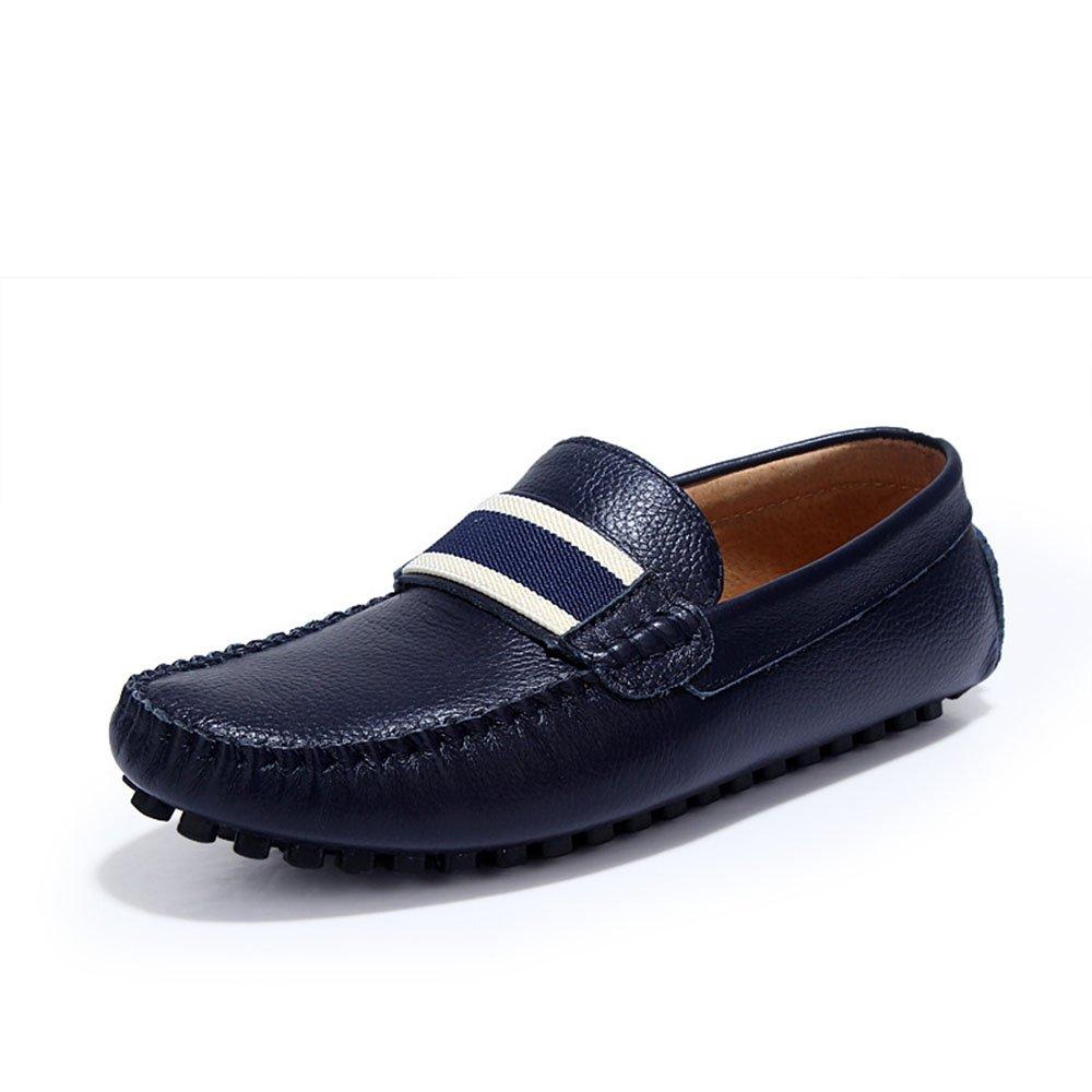 Ouyangyan Laufende Müßiggänger Herrenschuhe Handgefertigte Lederschuhe Stiefelschuhe und Freizeit Fahr Schuhe Stiefelschuhe Lederschuhe Blau cd7f13