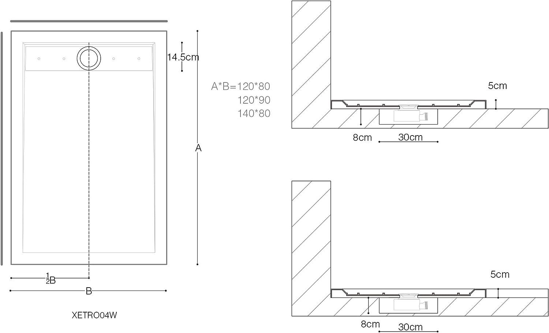 Receveur de douche 80x140cm bac /à douche blanc Sogood Xetro04W acrylique 80x140x5cm bonde AL01