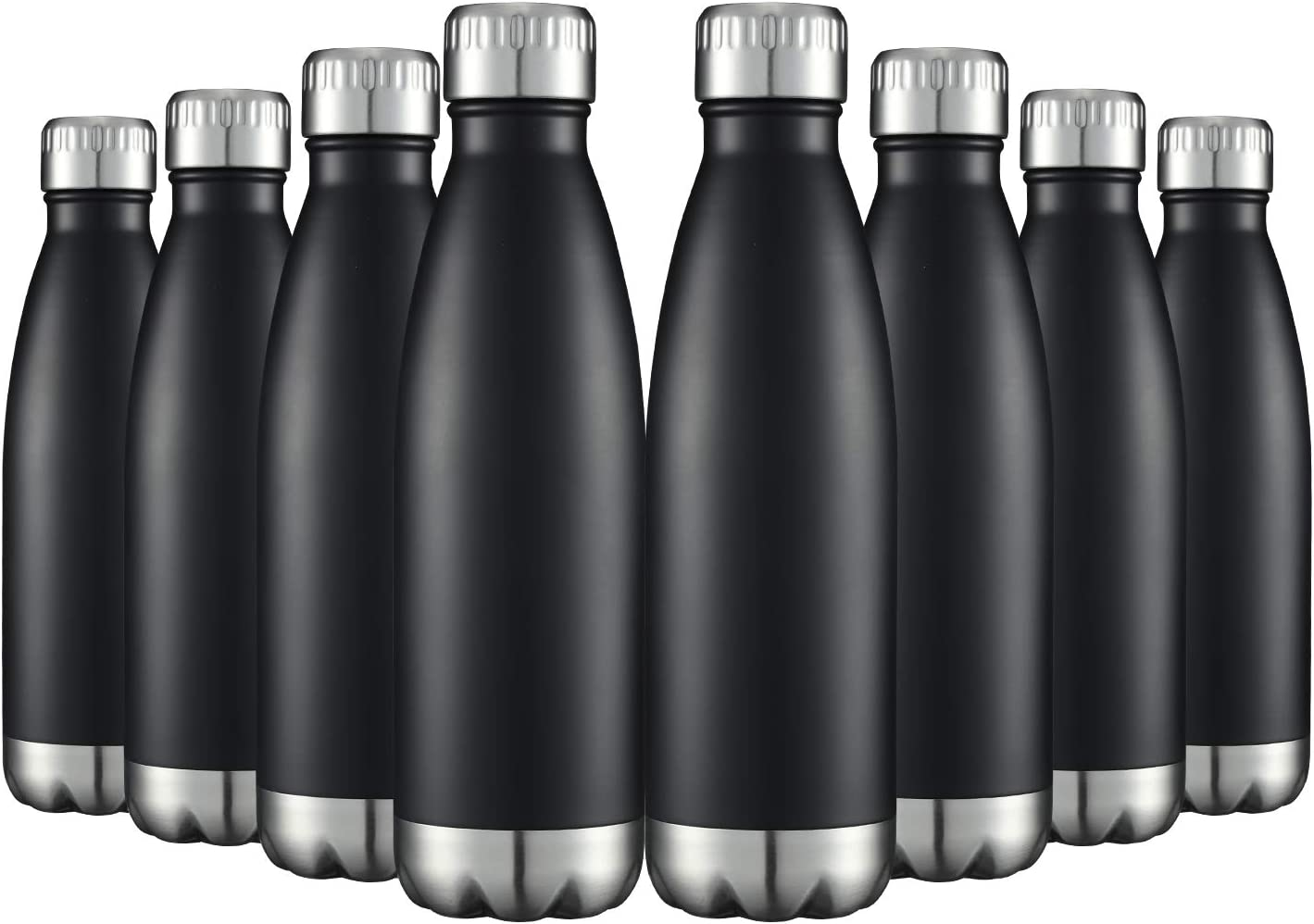 Water Bottles 8 Packs in Bulk Stainless Steel 17oz, Insulated Double Walled Vacuum Sports Fitness Hot Cold Reusable Beach Thermoses, Cola Shape Travel Metal Flask Leak Proof Gifts for Cycling Black