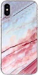 Girlscases® | iPhone XS Hülle, iPhone X/10 Hülle Marmor Schutzhülle aus Silikon mit Marmor/Marble Aufdruck/Motiv Glänzend | Farbe: Blau/Weiß / Rosa