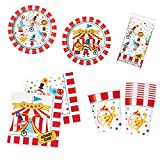 Unique Circus Carnival Party Bundle | Luncheon & Beverage Napkins, Dinner & Dessert Plates, Cups, Table Cover | Great for Animal Birthday Themed Parties