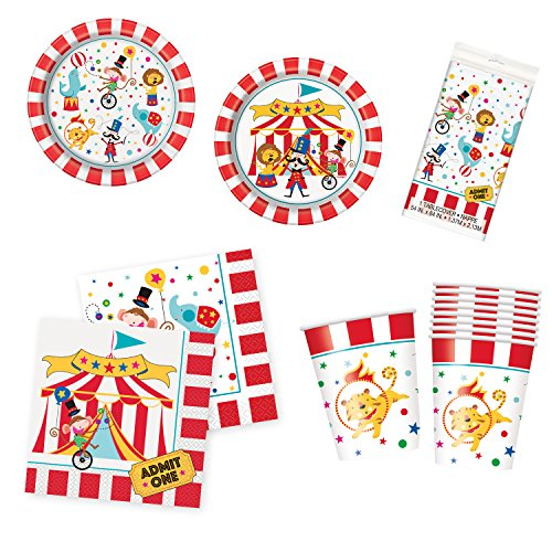 Unique Circus Carnival Party Bundle | Luncheon & Beverage Napkins, Dinner & Dessert Plates, Cups, Table Cover | Great for Animal Birthday Themed Parties -
