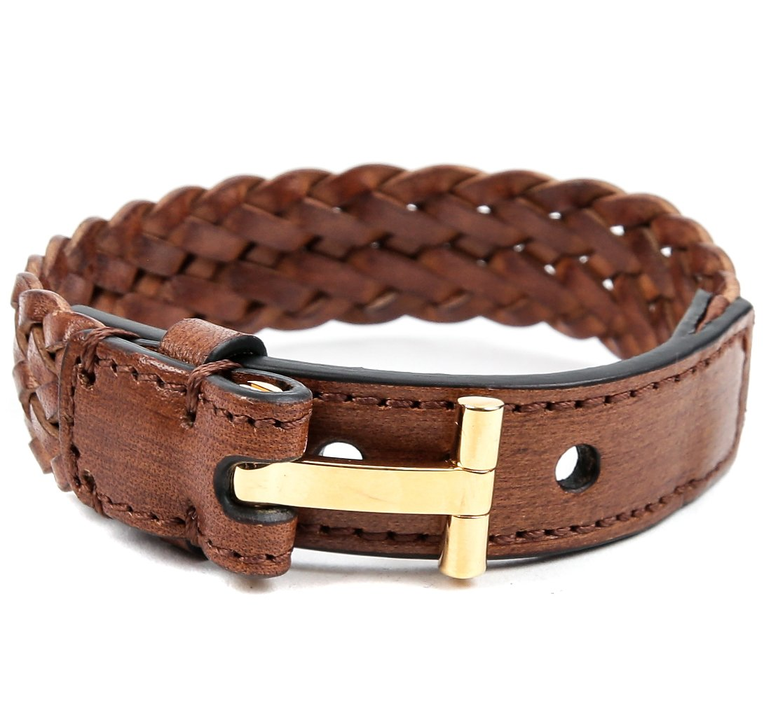 Wiberlux Tom Ford Men's Gold T-Buckle Woven Strap Leather Bracelet One Size Brown