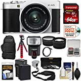 Fujifilm X-A5 Wi-Fi Digital Camera & 15-45mm XC Lens (Silver) with 64GB Card + Battery & Charger + Backpack + Tripod + Flash + Tele/Wide Lens Kit