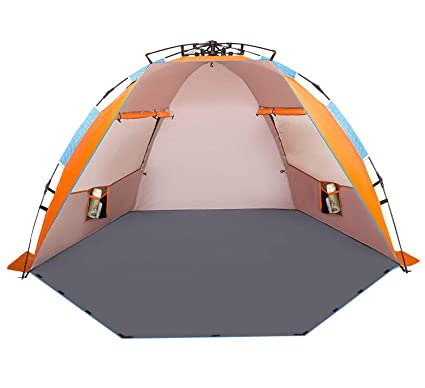 the best attitude 8b808 d1c31 Oileus X-Large 4 Person Beach Tent Sun Shelter - Portable Sun Shade Instant  Tent for Beach with Carrying Bag, Stakes, 6 Sand Pockets, Anti UV for ...