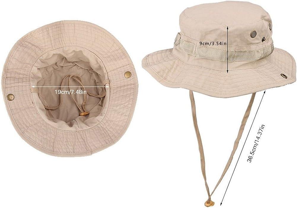 Hosaire Chapeau P/êche Anti-soleil Chapeau boonie Unisexe large bord Chapeau de Soleil Pour Jungle Ext/érieure Kaki