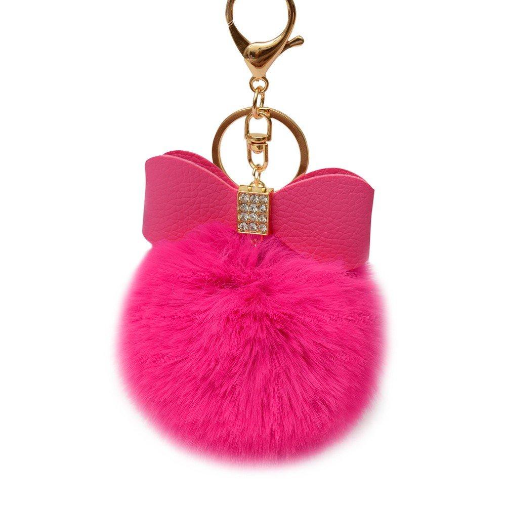 SUPPION Watermelon Rabbit Fur Ball Keychain Bag Plush Car Key Ring Car Key Pendant (F)