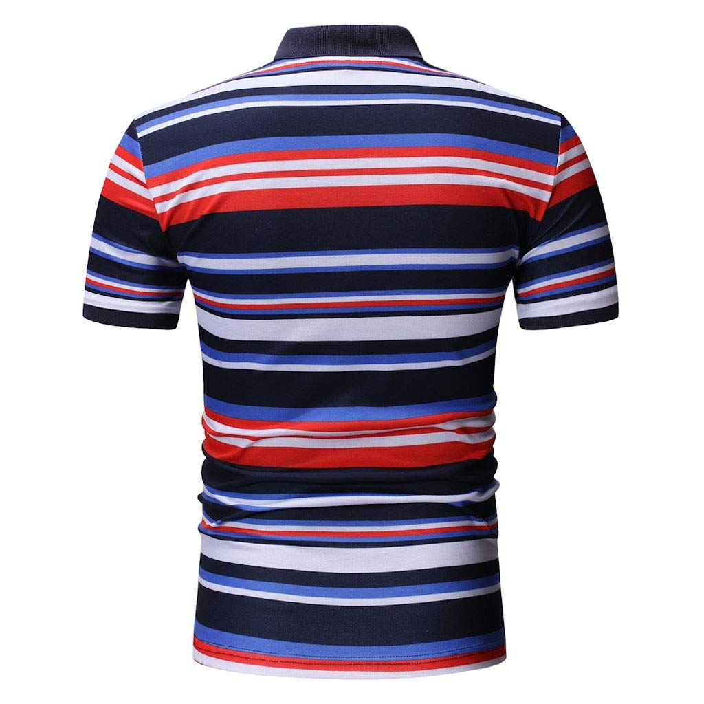 LEXUPA t shirts for men Men Spring Winter Stand Collar Fashion Casual Short Sleeve Striped Slim Top