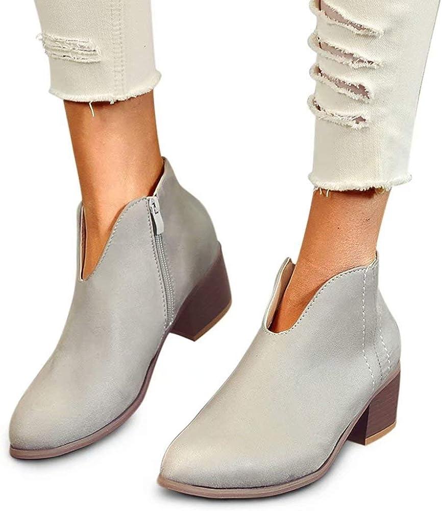 Botines/Mujer Tacon Ancho Ante Cuero Tobillo Botas Piel/Ankle Boots 4 Cm Cremallera Moda Comodos Verano Primavera Negro Gris Leopardo Rojo 35-43