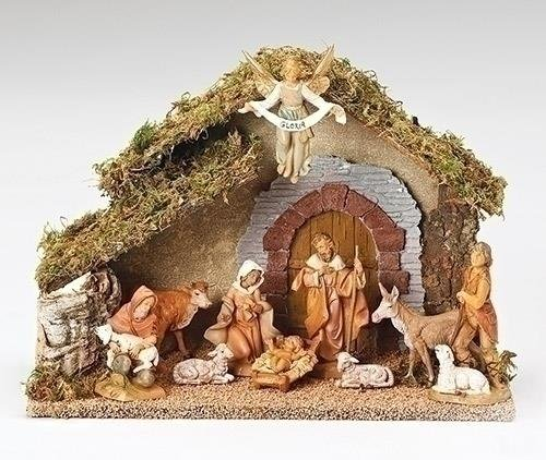 10-piece Fontanini 5'' Religious Christmas Nativity Set with Italian Stable #54481 by Roman