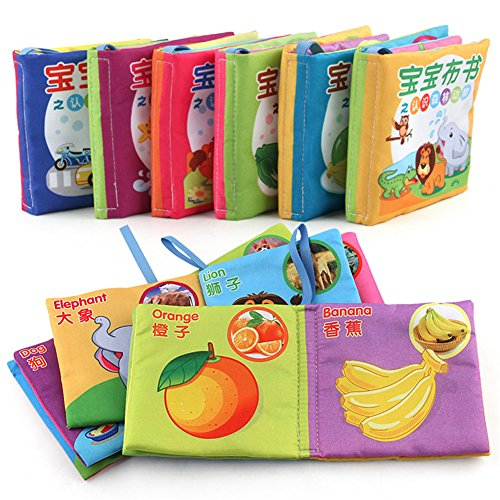 Baby Fabric Book Early Education Toys Chinese-English Bilingual Learning Toys Baby Non-Toxic Cloth Book Washable (6 in 1 Pack) -