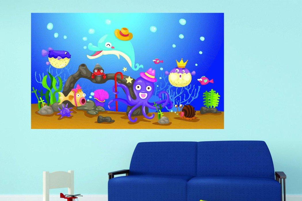 12 x 18 Design with Vinyl RAD 1098 1Cartoon Marine Animals Sea Creatures Vinyl Wall Decal