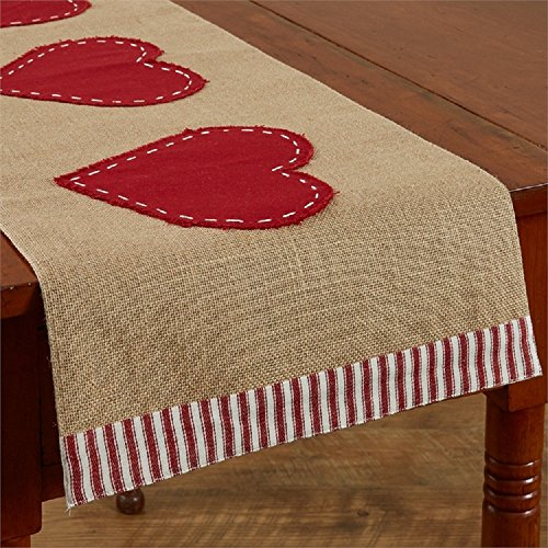 Park Designs Three Hearts 14 inches x 48 inches Cotton Applique Table Runner - Tablecloth