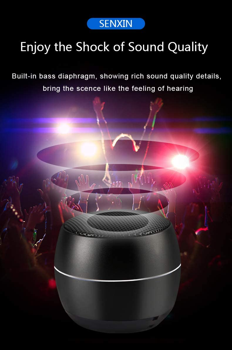 SENXIN Enhanced Stereo Edition Portable Bluetooth Speaker S3, Custom Bass Radiator,with Bluetooth Chip 5.0 Black