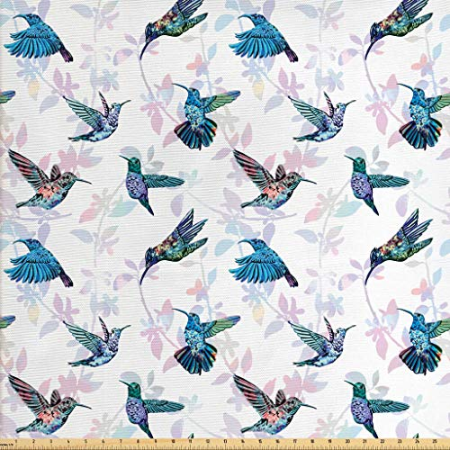 - Lunarable Hummingbirds Fabric by The Yard, Tropical Animal Pattern Wildlife Inspirations Exotic Flying Creatures Print, Decorative Fabric for Upholstery and Home Accents, 2 Yards, Multicolor