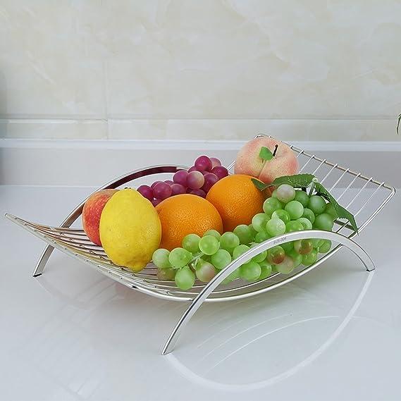 FRUI plato de fruta Europea creativa 304 cesta de frutas de acero inoxidable de la sala de decoración decorado Frutas cesta de la cesta de fruta: Amazon.es: ...