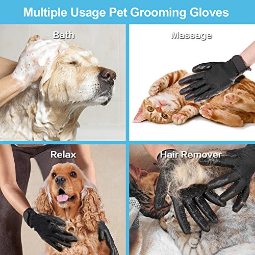 CASFANSTA Pet Grooming Glove, Gentle Pet Deshedding Glove for Dogs, Cats, Horses Effective Pet Hair Remover Brush Massage Gloves -1 Pair by CASFANSTA (Image #4)