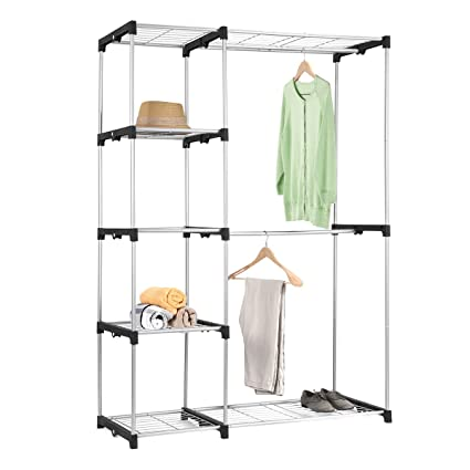 ... Double Rod Closet Maidmax Free Standing Sliver Garment Rack For Gift