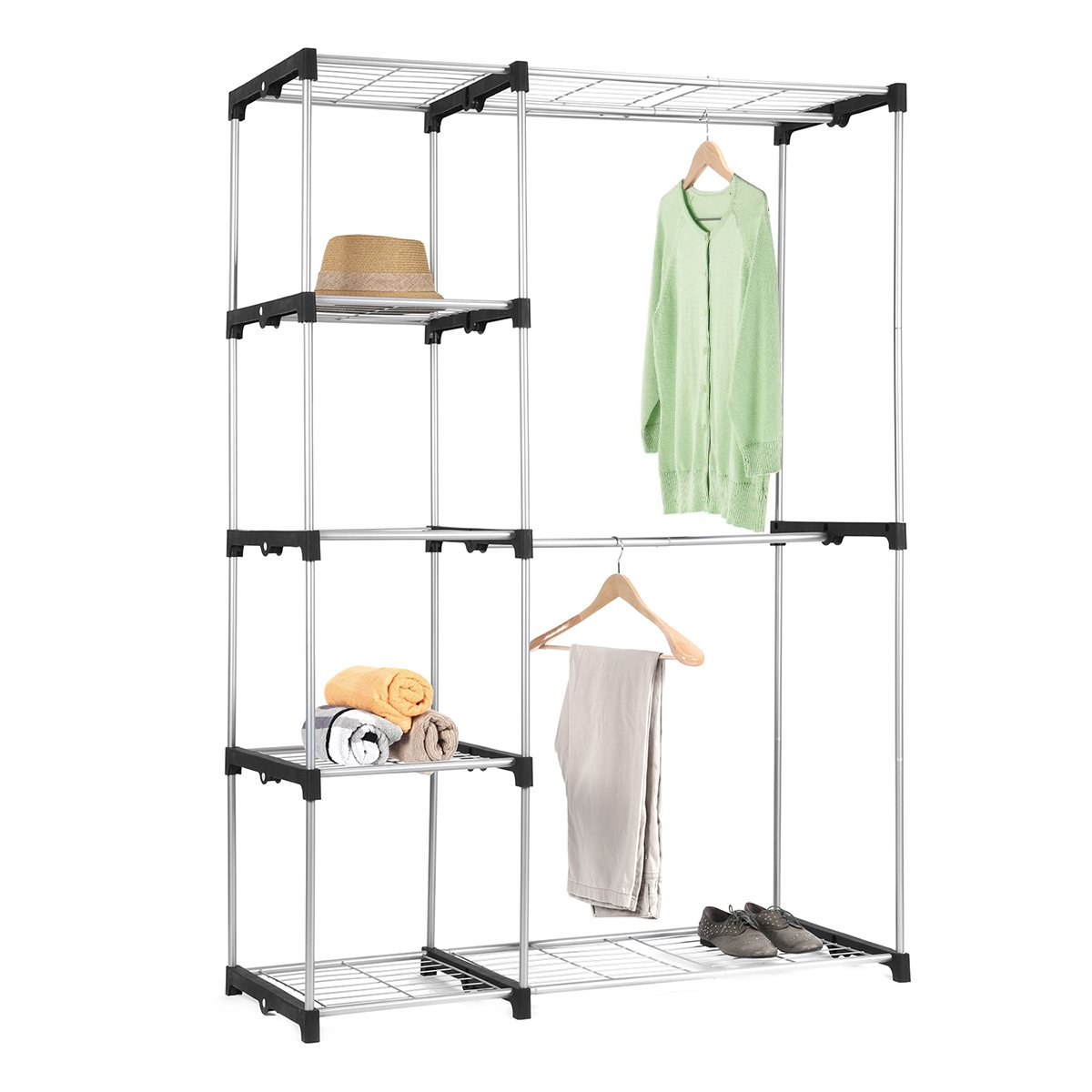 Double Rod Closet, MaidMAX Free-standing Sliver Garment Rack for Gift