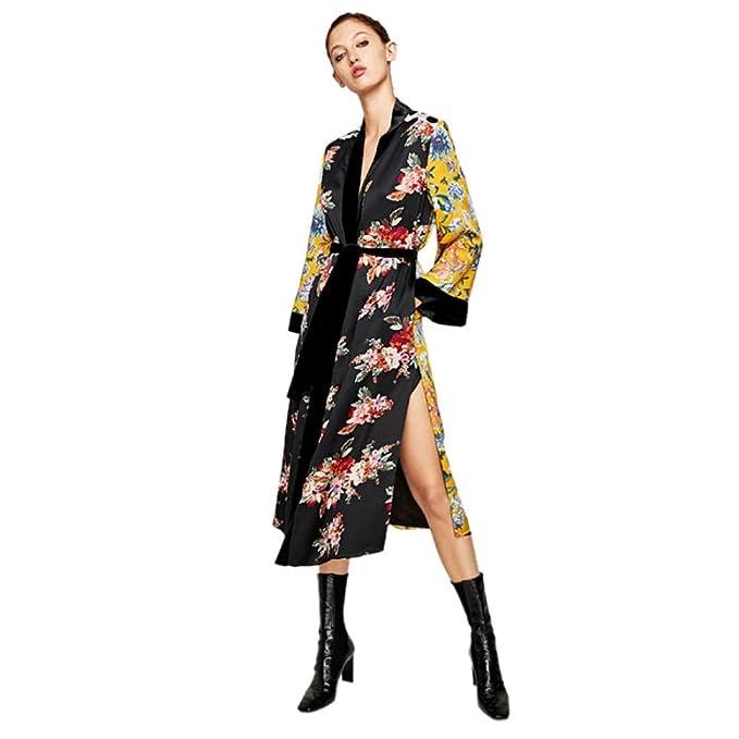 ba5ae5d423e0d3 Sunward Women's Floral Kimono Cardigan Long Blouse Loose Tops Outwear (S,  Yellow)