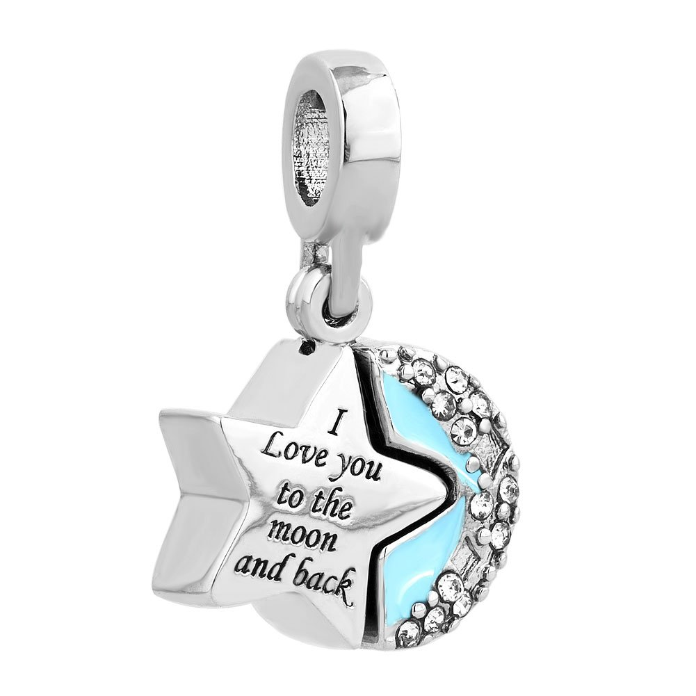 Sug Jasmin Moon And Star Charm I Love You To The Moon And Back Beads For Bracelet AK3fkS