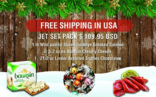 Jet Set Christmas Gift Pack Basket Featuring Wild Pacific Canadian Smoked Salmon | Lindt Lindor Chocolates | Boursin Garlic Cheese Gourmet With Greeting Card Xmas Gift From Jet Set Sam by Jet Set Sam