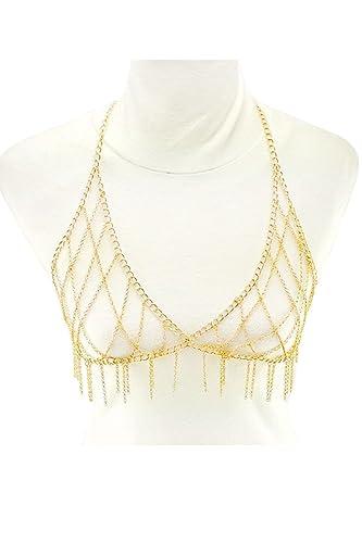 8acbb59a41 Womens Sexy Club Bikini Bralette Rhinestones Chain Bra Necklace JBR10 (Gold  (JBR1000)) at Amazon Women s Clothing store