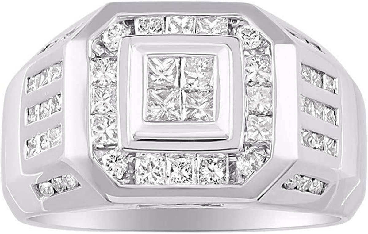 RYLOS Anillo de diamante para hombre, oro amarillo de 14 quilates o blanco de 14 quilates, ajuste cómodo, peso total del diamante de 2,25 quilates
