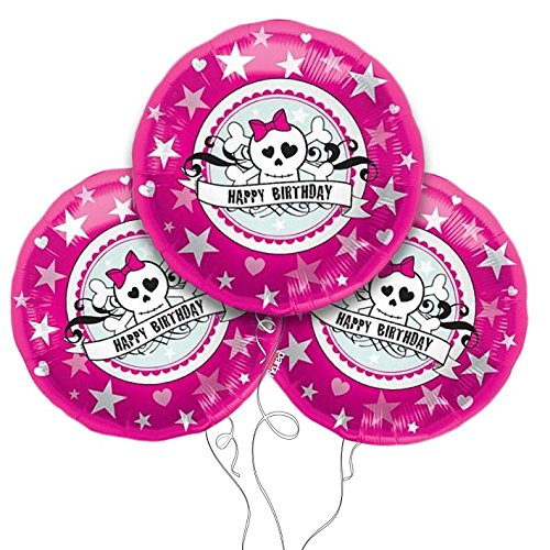 (Birthday Skully Pink Mylar Balloon 3pk)