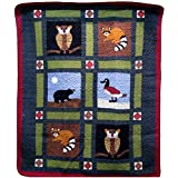 Rustic Patchwork Wildlife Wall Hanging Lap Quilt 50 quot; x 60 quot;