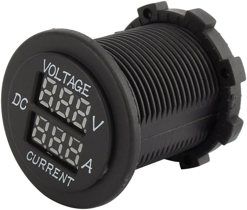 aqxreight voiture moto DC 12-24V double LED voltm/ètre num/érique amp/èrem/ètre amp/èrem/ètre voltm/ètre jauge