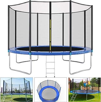 LETIN Trampolín con red de seguridad, escalera de trampolín para niños, alfombrilla de salto y cubierta de resorte acolchada para cama elástica al aire libre, 10 pies, 12 pies, 14 pies, 16