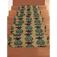 WCHUANG Pineapple Stair Treads Non-slip Carpet, Slipper Print Rectangle Stair Rugs Pads, Indoor Outdoor Rubber Mats for Staircase, Set of 5