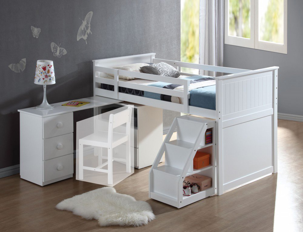 1PerfectChoice Wyatt Youth Children Pull Out Desk Stairway Storage Chest Twin Loft Bed in White