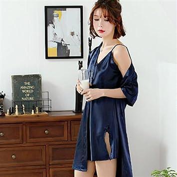 HSDDA Toalla de baño Ladies Love Impreso camisón de Manga Corta Batas con Vestido de Tirantes
